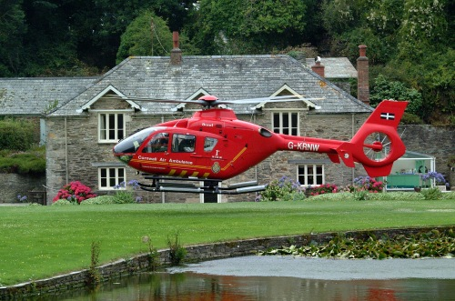 We felt sorry for Dennis but enjoyed the air ambulance landing on our lawn.