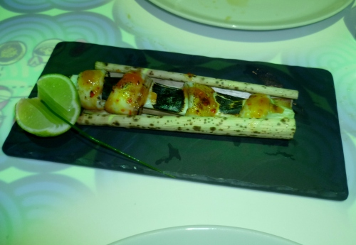 Miso Grilled Seabass (served on a bamboo skin).