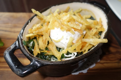 Spinach poached egg and goats cheese