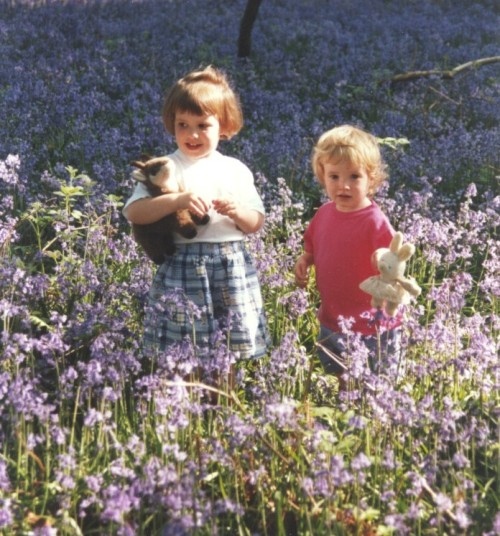 Gem & Chloe in bluebells, 1996